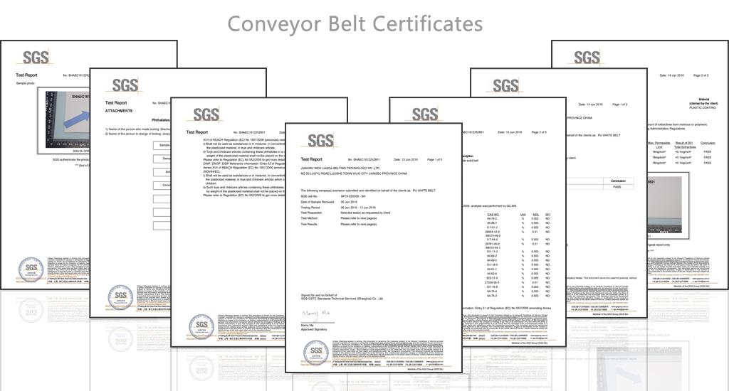 conveyor belt sgs certificates
