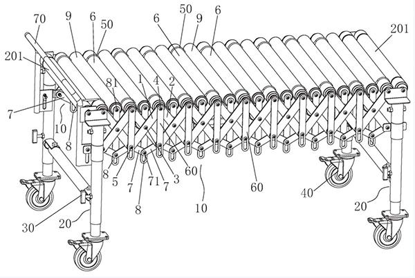 flexible roller conveyor structure