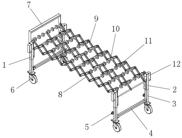 skate wheel conveyor structure